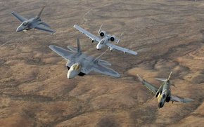 Wallpaper a-10, f-22, Phantom, F-4, raptor