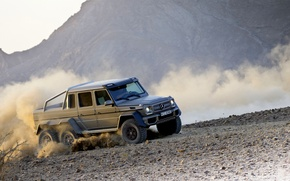 Picture Mercedes-Benz, Dust, Machine, Turn, Grey, Jeep, AMG, G63, 6x6