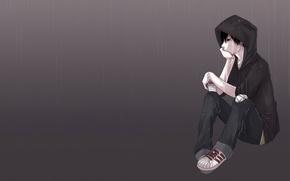 Wallpaper sadness, rain, sadness, anime, guy, boredom, art