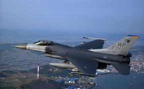 Wallpaper flight, the city, F-16