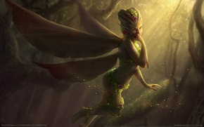 Picture forest, girl, wings, the demon, game wallpapers, Sins of a Dark Age