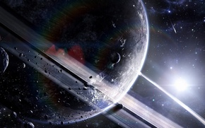 Picture light, planet, ring, the asteroids