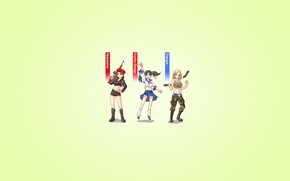 Wallpaper weapons, minimalism, Tatiana Adams, anime style, Yuriko Omega, three, red alert, three, light background, girls, ...