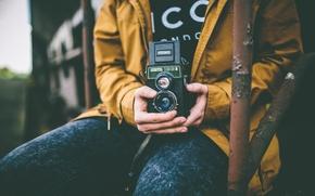 Picture camera, hands, male, jacket, bokeh, city, 166B, Lubitel