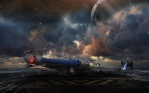 Picture the sky, clouds, landing, starship, Star Citizen, Reliant