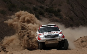Picture Sand, Turn, Toyota, Hilux, Rally, Dakar, Dakar, Toyota, The front