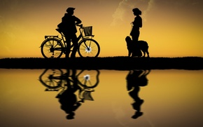 Picture girl, the sun, bike, dog, guy, silhouettes