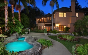Picture flowers, lights, house, palm trees, lawn, the evening, pool, garden, lights, CA, USA, garland, mansion, ...