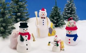 Wallpaper snow, holiday, gifts, snowmen, bell