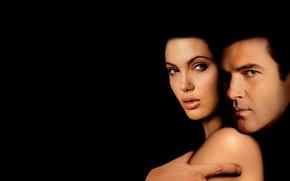 Picture darkness, the film, Angelina Jolie, Angelina Jolie, actors, black background, Original Sin, The temptation, Antonio ...