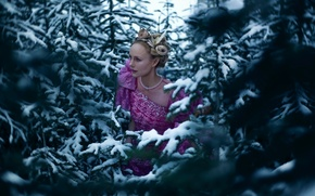 Picture forest, girl, snow, tree, Lichon, Colleen, No Quarter