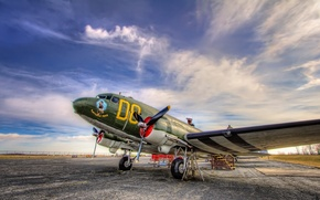 Wallpaper the sky, the plane, the airfield, Douglas C-47 Skytrain