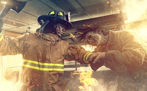Picture fire, fire, fight, Zombie VS Firefighter
