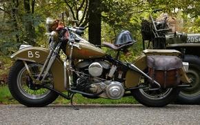 Picture road, motorcycle, helmet, military, Harley-Davidson, WLA