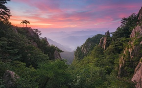 Picture the sky, clouds, mountains, rocks, valley, forest