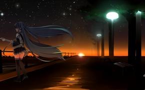 Picture the sky, girl, stars, sunset, guitar, anime, art, lights, vocaloid, hatsune miku