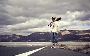 Picture road, guitar, guy