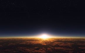 Picture clouds, surface, sunrise, dawn, star, planet, the atmosphere, starry sky