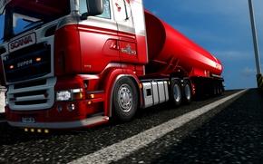 Picture red, streamline, super, truck, lady, trucks, low, Scania, diesel, lowered, R580, rjl, EuroTruckSimulator, lowdeck, elsa3dany1, …