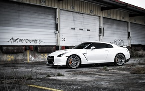 Picture white, composition, Nissan, white, GT-R, Nissan