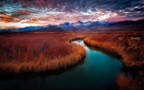Picture mountains, river, dawn, california, sunrise, Owens River, Owens River Valley, Mt. Whitney, eastern Sierras, Big …