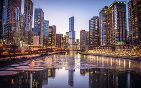 Picture ice, winter, the city, lights, river, skyscrapers, the evening, Chicago, Chicago, Illinois