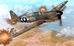 Picture war, art, airplane, painting, aviation, Fairey Firefly