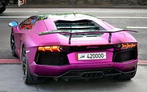 Picture purple, lamborghini, back, headlights, aventador, lp700-4, Lamborghini, aventador, violet, wing