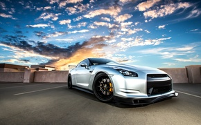 Picture roof, the sky, clouds, sunset, silver, nissan, gt-r, GT-R, r35, silvery, niisan