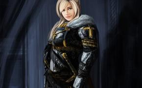 Picture girl, crosses, art, armor, Paladin, Gentle