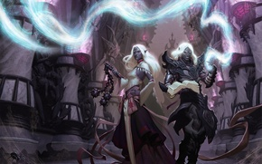 Wallpaper weapons, magic, art, guy, girl, elves, drow, Dungeons and Dragons, spider