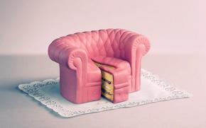 Wallpaper sofa, pink, cake, piece, napkin, cake