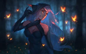Picture forest, butterfly, blue, hood, elf, forest, Art, elf, Nakanoart, Whispers in the Forest