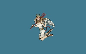 Picture girl, wings, minimalism, angel, Trident, tail, horns, devil, angel