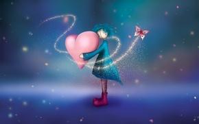 Wallpaper girl, Heart, butterfly