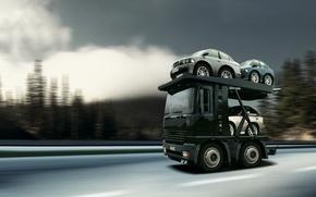 Wallpaper truck, car Transporter, micro