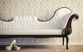 Picture sofa, Wallpaper, interior, shoes, heels, beads