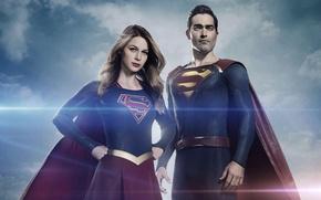 Picture red, logo, sky, cloud, power, crossover, series, Superman, hero, DC Comics, Clark Kent, blone, Supergirl, …
