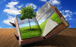 Picture road, grass, clouds, creative, tree, book