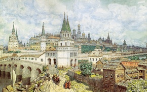 Picture watercolor, pencil, coal, All saints bridge and the Kremlin in the late XVII century, The …