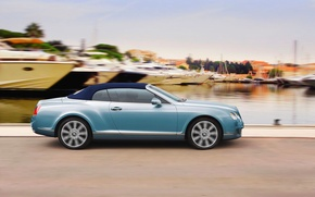 Picture Bentley, Continental, Pier, Blue, Yachts, In Motion, GTС