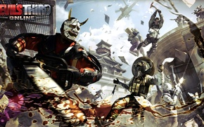 Picture the sky, clouds, weapons, jump, blood, battle, mask, logo, armor, logo, helicopter, axe, saw, Online, …