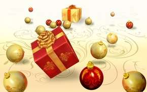 Wallpaper new year, tape, holidays, gift, Christmas toys, bow
