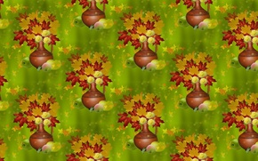 Picture autumn, leaves, background, bouquet, texture, pitcher