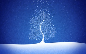 Wallpaper tree, new year, blue, snow