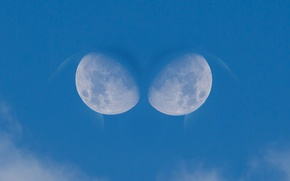 Picture the sky, clouds, the moon, moon