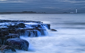 Picture sea, the sky, clouds, stones, shore, lighthouse, the evening, Scotland, surf, UK, threads, Scotland, away, …