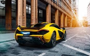 Picture McLaren, Fire, Yellow, Supercar, Exhaust, Rear