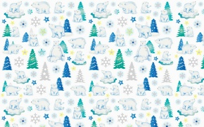 Picture background, holiday, texture, bear, New year, herringbone, snowflake, asterisk