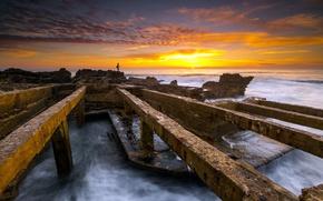 Picture sea, sunset, fisherman